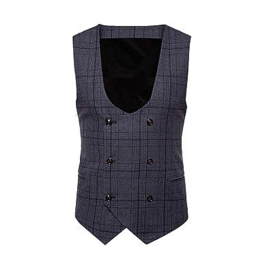 Herren Leinen Baumwolle Weste Anzug Weste ärmelloses Top Freizeit Streifen Farbe