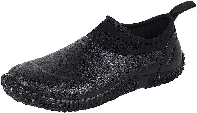 Unisex Garden Shoes Ankle Rain Boots Waterproof Mud Muck Rubber Slip-On Shoes for Women Men Outdoor