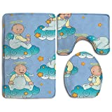 XsWu Bathroom Rug Baptism Baptism Sitting Sleeping Crawling Smiling Babies On Clouds Catholic Children Party 3 Piece Bath Mat Set Contour Rug And Lid Cover