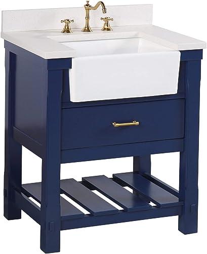 Charlotte 30-inch Bathroom Vanity Quartz/Royal Blue : Includes Royal Blue Cabinet