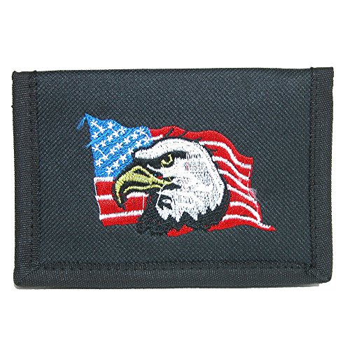 Parquet Men's Hook & Loop Trifold Wallet with American Flag & Eagle Embroidery (Eagle Flag Embroidery)