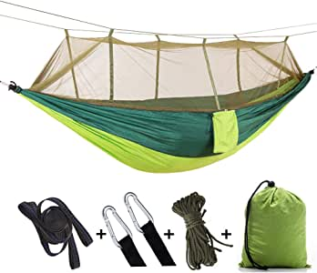 Apsung Portable Hammock Camping with Mosquito Net,Hammock Tree Straps and Carabiners,Easy Assembly,Lightweight Nylon Parachute Hammocks for for Backpacking,Travel,Beach,Backyard,Patio,Hiking.