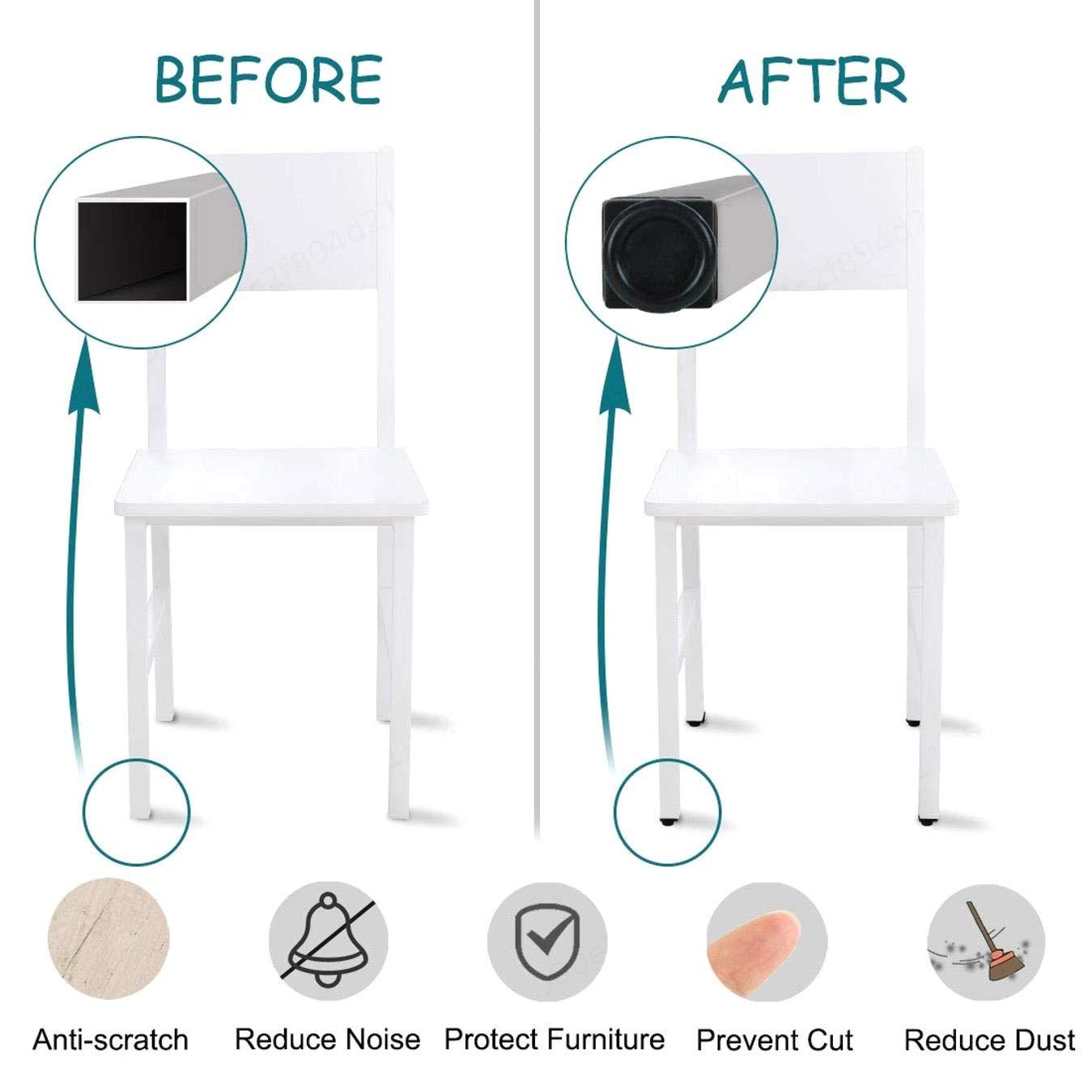 PRINDIY 8 Juegos Patas para Muebles de Insertos de Tubo Cuadrado de 40 x 40 mm Kit de Deslizamiento de Muebles nivelador Ajustable Patas niveladoras para Escritorio Mesa Gabinete Pata