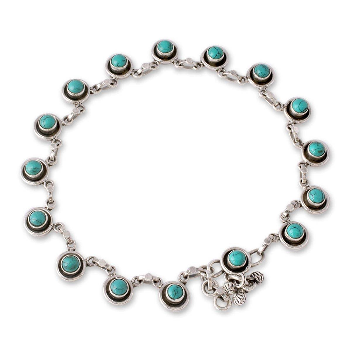 NOVICA Dyed Calcite .925 Sterling Silver Charm Link Anklet, 10.5'' 'India Trends'