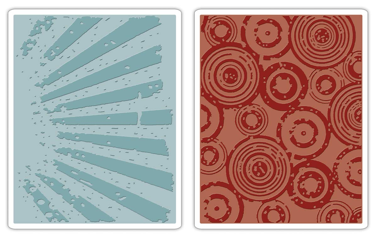 Sizzix Tim Holtz Texture Fades Alterations Collection Embossing Folders Rays and Retro Circles Set (12 Pack)