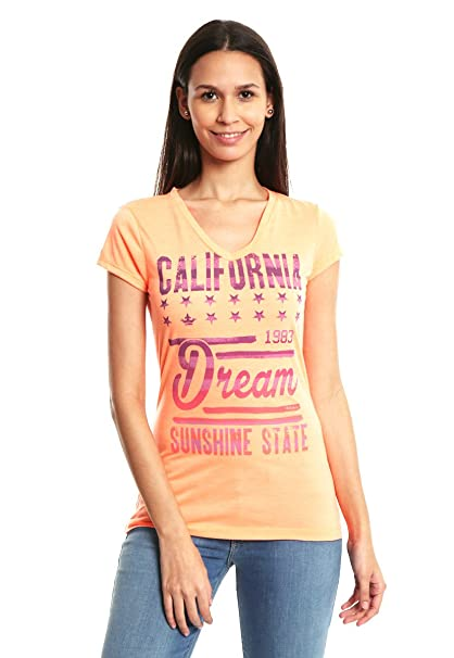 Colins Playera Naranja California Dream Playera para Mujer Naranja Talla XS ec4cdee30848b