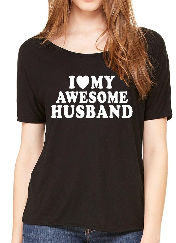 Women's I Love My Awesome Husband Luxuriously Soft Flowy Slouchy Tee