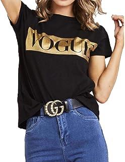 Islander Fashions Ladies Gold Foil Vogue Slogan Camiseta Impresa Fiesta para Mujer Ropa de Manga Corta