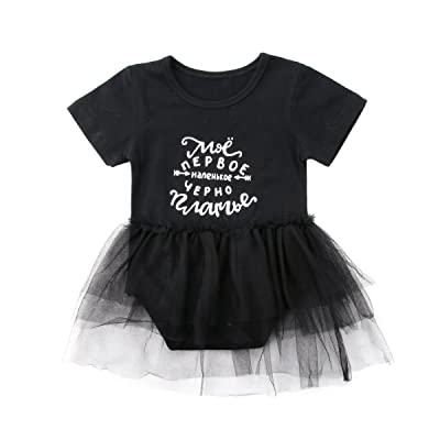 Baby Girl Short Sleeve Letters Printed Romper Dress Tutu Skirt Summer Outfit
