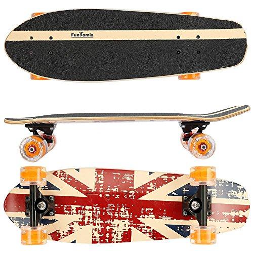 FunTomia Midi-Board Cruiser Skateboard 65cm aus 7-lagigem kanadischem Ahornholz / oder 5-lagen kanadischem Ahornholz und 2-lagen Bambusholz inkl. ABEC-11 MACH1 Kugellager - mit oder ohne LED Rollen (England / mit orangen LED Rollen / aus Ahornholz)
