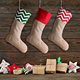 Sumind 4 Pieces Christmas Burlap Stockings Xmas Fireplace Decor for Christmas Decoration DIY, Plain