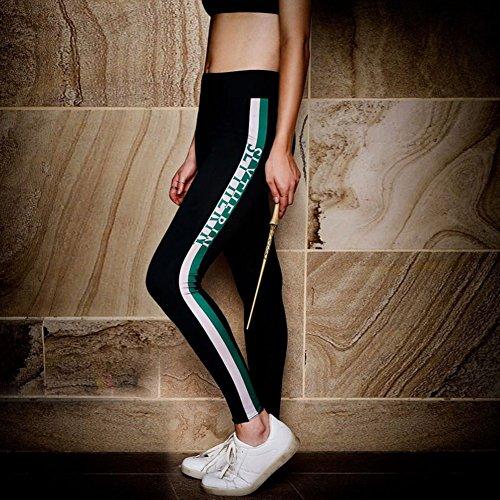 Leggings Confortevole Vita Stampato Formazione Donna Casuale Slim Fit Skinny A Pantaloni Yying Verde Strisce Alta Moda 86xYqwp