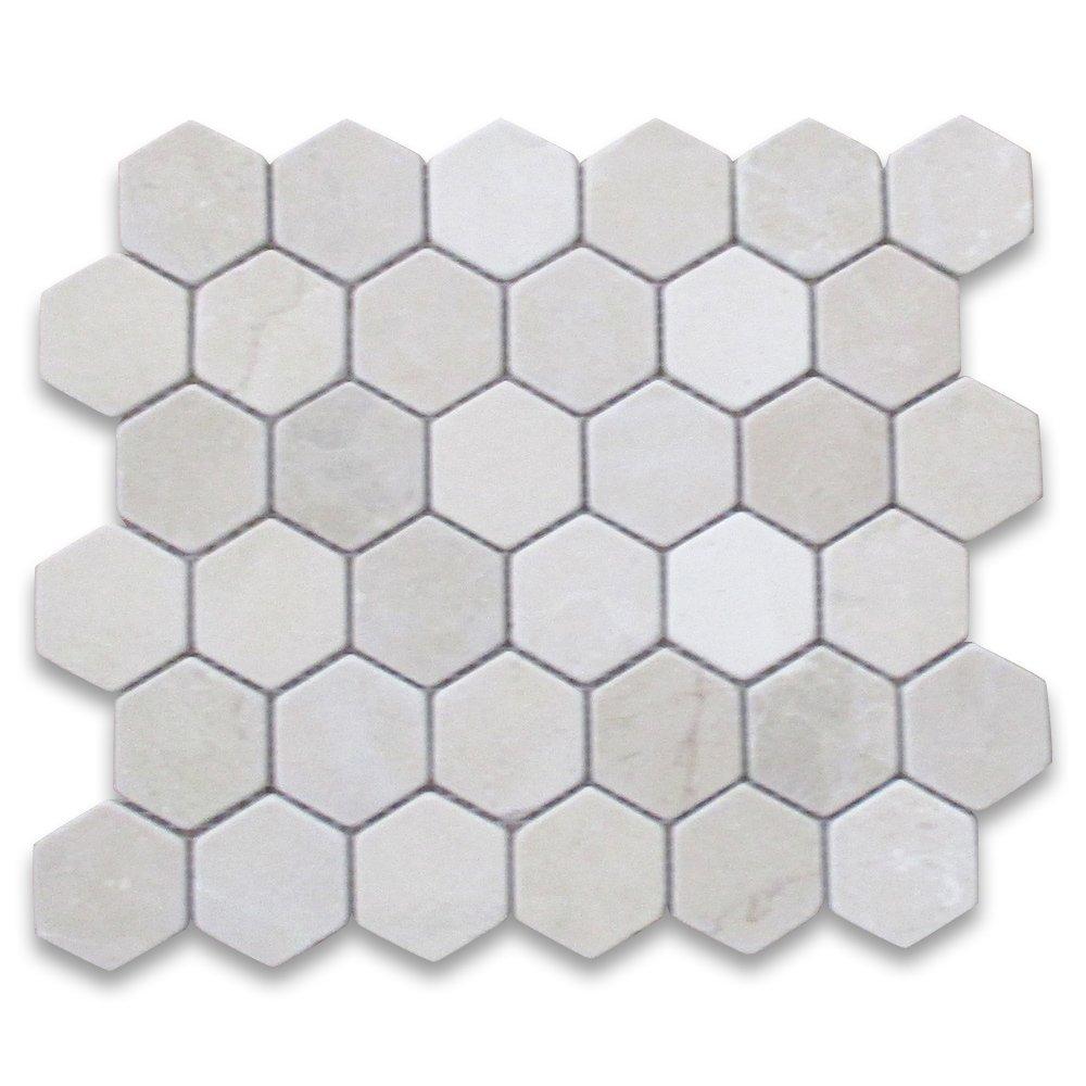 Crema Marfil Spanish Marble Hexagon Mosaic Tile 2 inch Tumbled