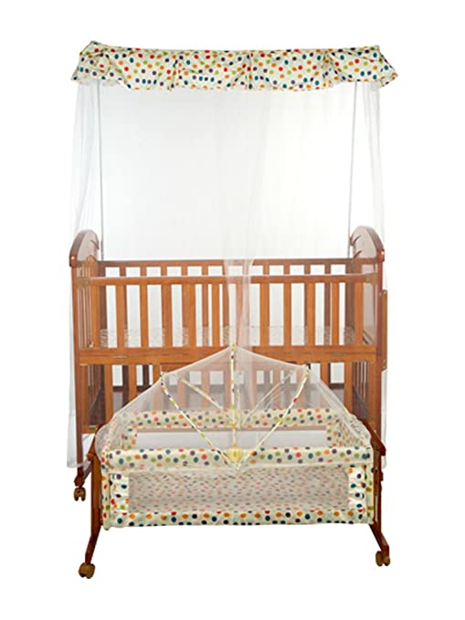 009379a9c Buy Mee Mee Baby Wooden Cot with Cradle Swing Adjustable Height and  Mosquito Net