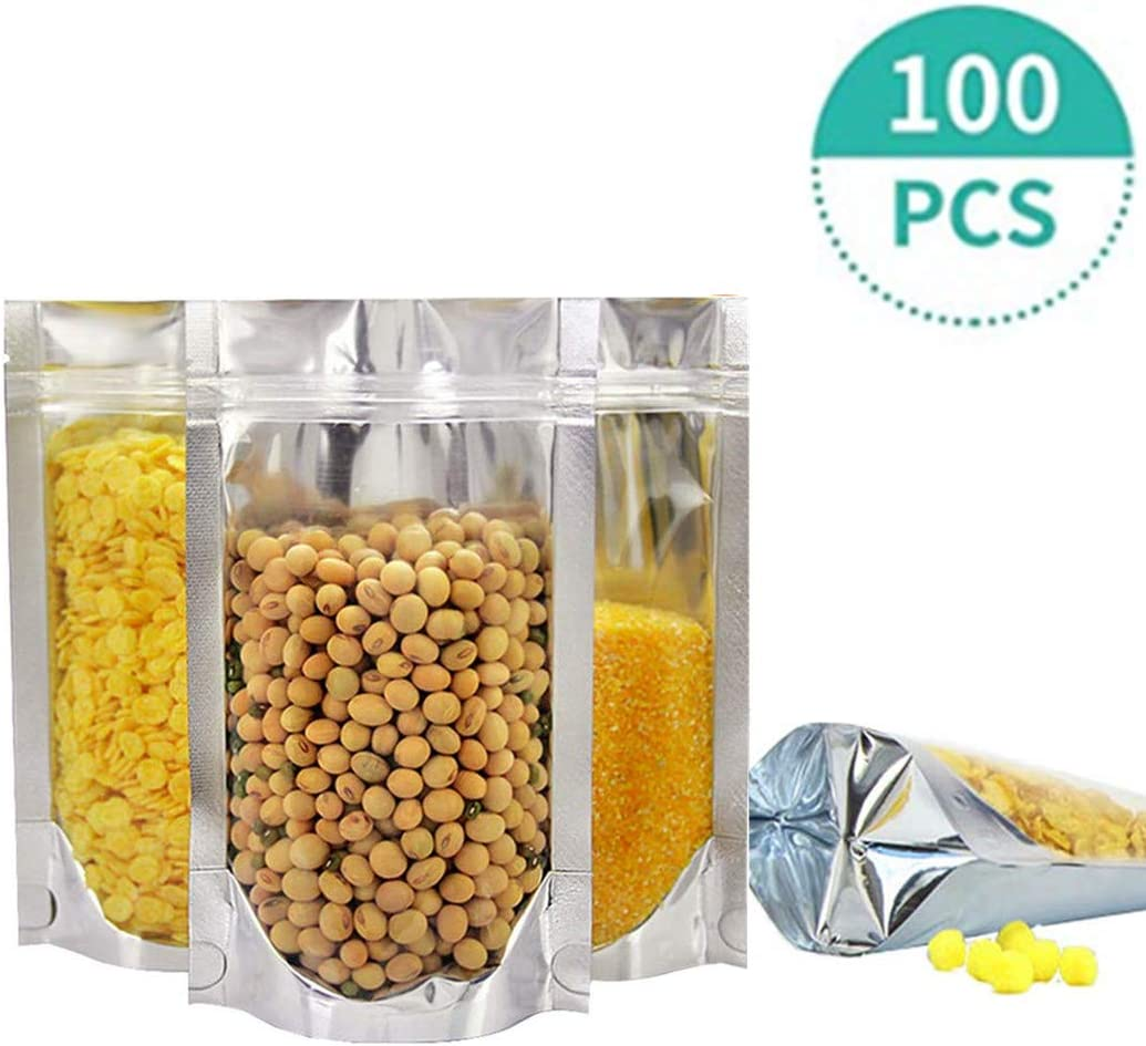 100 resealable bags mylar aluminum eco biodegradable food safe material clear silver colored cute smell proof large heavy duty for jerky, tea, food storage,tshirts,jewelry travle (9.513.8+4 inch)