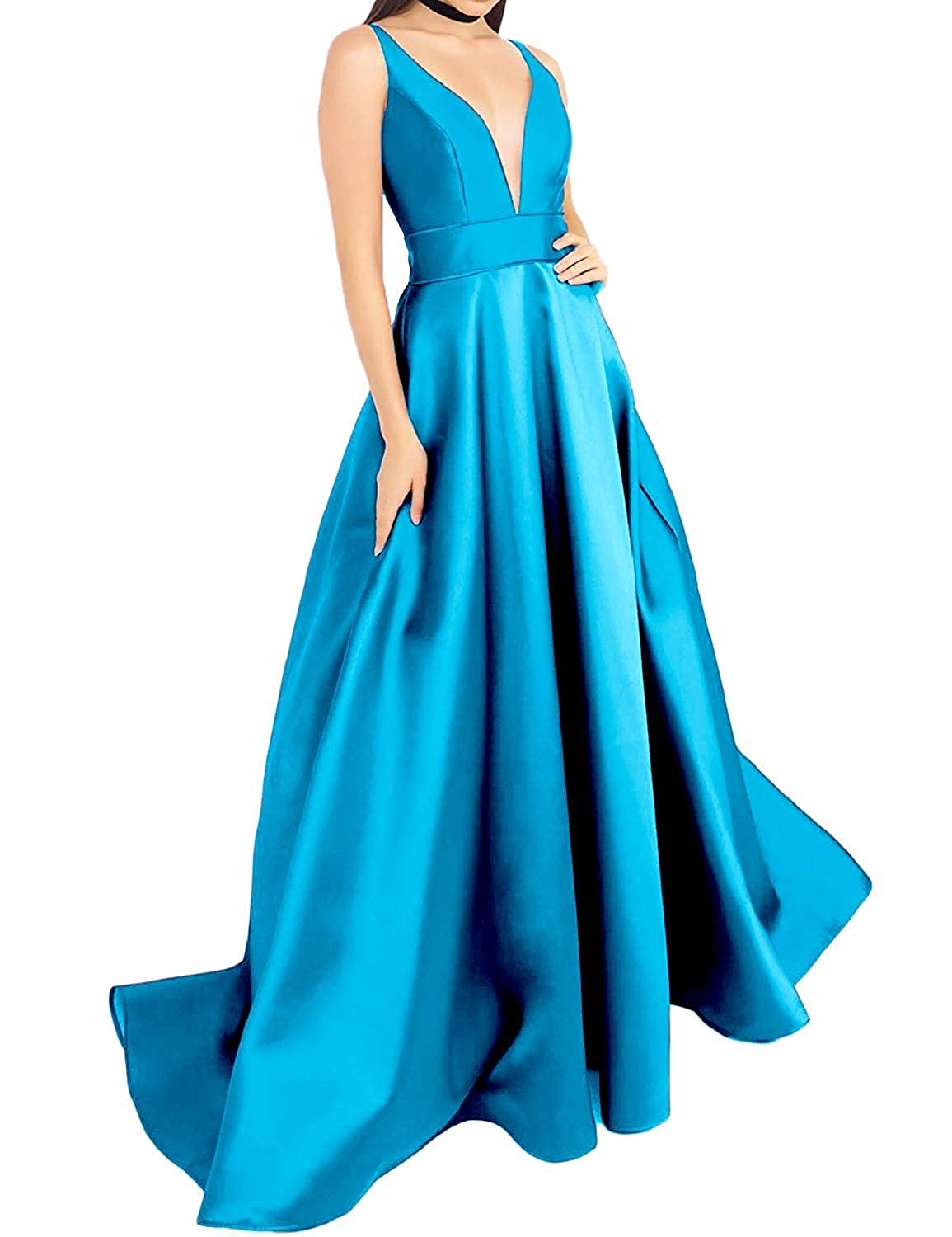 bluee luolandi Women's V Neck Prom Dresses A Line Satin Long Evening Formal Gowns with Pockets