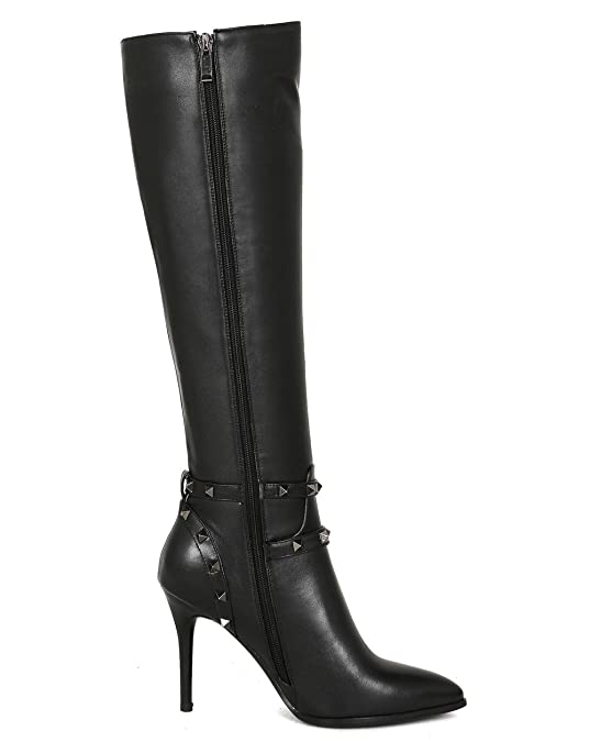 4effb8033d4 Nine Seven Genuine Leather-Women's Pointed Toe-HIgh Stiletto Heel-Handmade  Rivets Strappy Dressy Sexy Knee High Boots