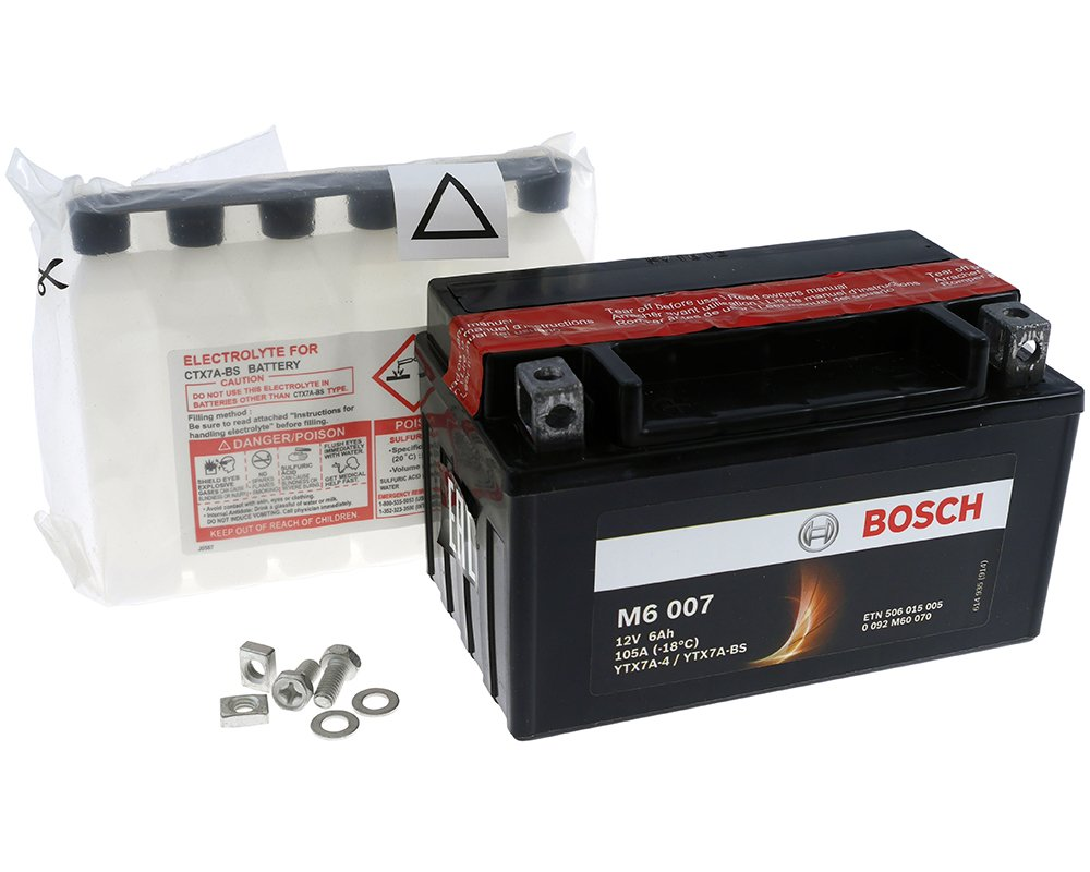 Batterie BOSCH YTX7A-BS 12 Volt - Rex RS 460 50 4T Bj. 2009-2012 [ inkl.7.50 EUR Batteriepfand ]