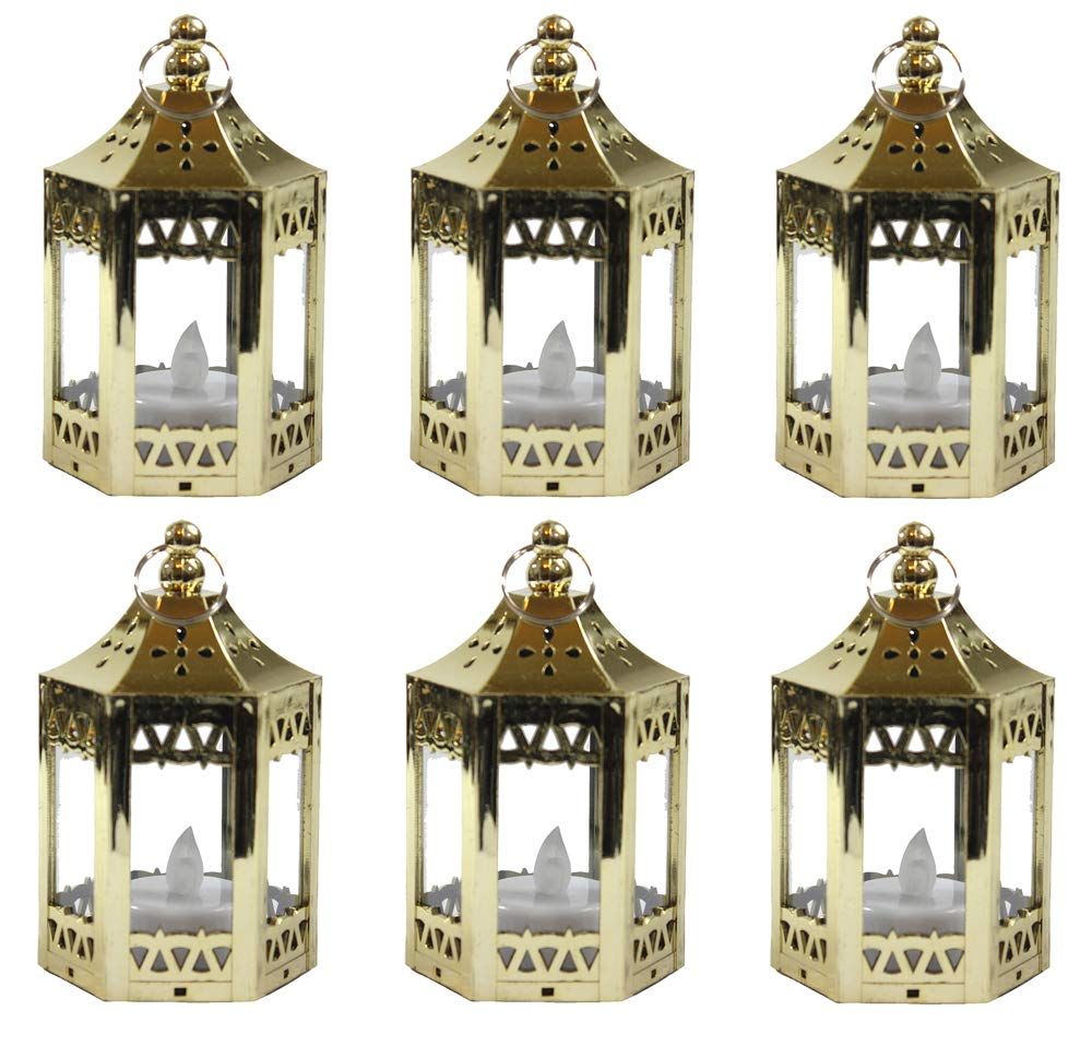 6pc Mini Black Candle Lanterns with Flickering LED Tea Light Candle, Batteries Included Vela Lanterns