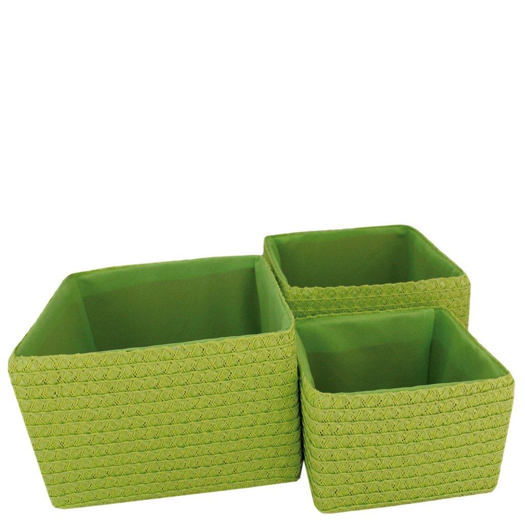 laroom 13068/ Verde Colore /Set 3/cestini
