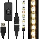 [ON/OFFスイッチUSB延長ケーブル付] LEDテープライト 貼レルヤ USB (電球色) 1m 60灯・両面テープで好きな場所に貼り付け可能・ハサミでカットして長さを変えられます【JTTオンラインオリジナル商品】