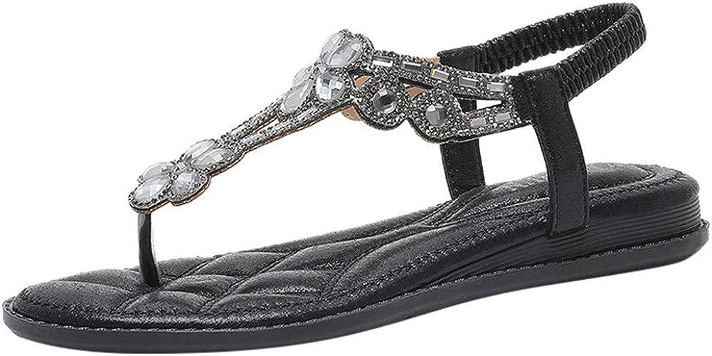 BASACA Sandales Femmes Plates, Chaussures Été Tongs à Talons