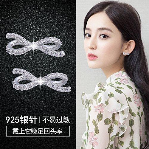 Bow 925 Sterling Silver Pin - 925 sterling silver pin crystal bow earrings hanging Korea after sweet micro diamond earrings Ja and South Korea women
