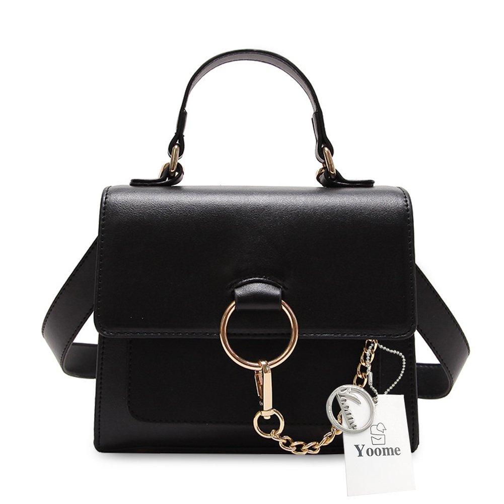 Yoome Mini Satchel Handbags Fashion Shoulder Handbags For Womens Crossbody Bags with Metal Chain Ring Top Handle Bags For Girls - Black