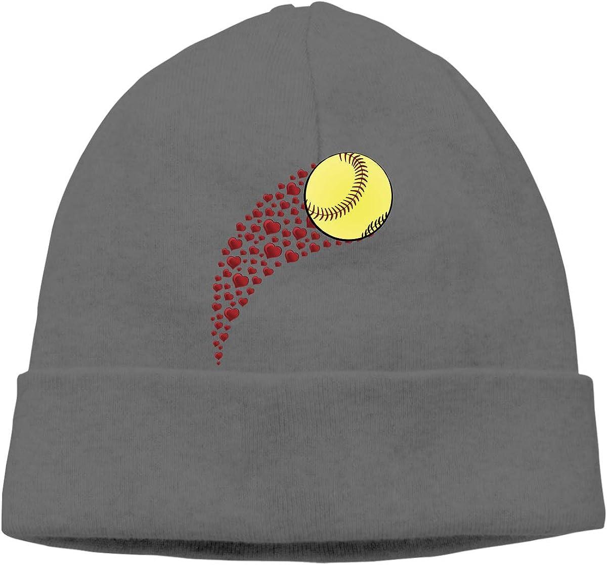 Q10 Men Women Heart Shaped Softball Soft Beanie Hat Soft Hat