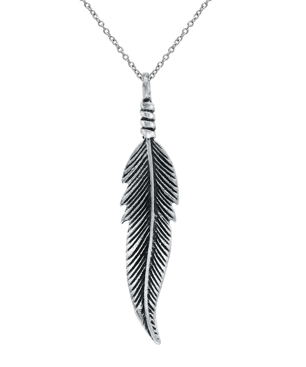 Sterling Silver Freedom Feather Pendant Necklace, 18''