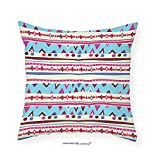 VROSELV Custom Cotton Linen Pillowcase Tribal Old Fashion Mexican Aztec Ethnic Folk Pattern with Geometric Trippy Trendy Figures for Bedroom Living Room Dorm Multicolor 18''x18''