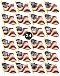 24 Pack American Flag Lapel Pins - USA M...