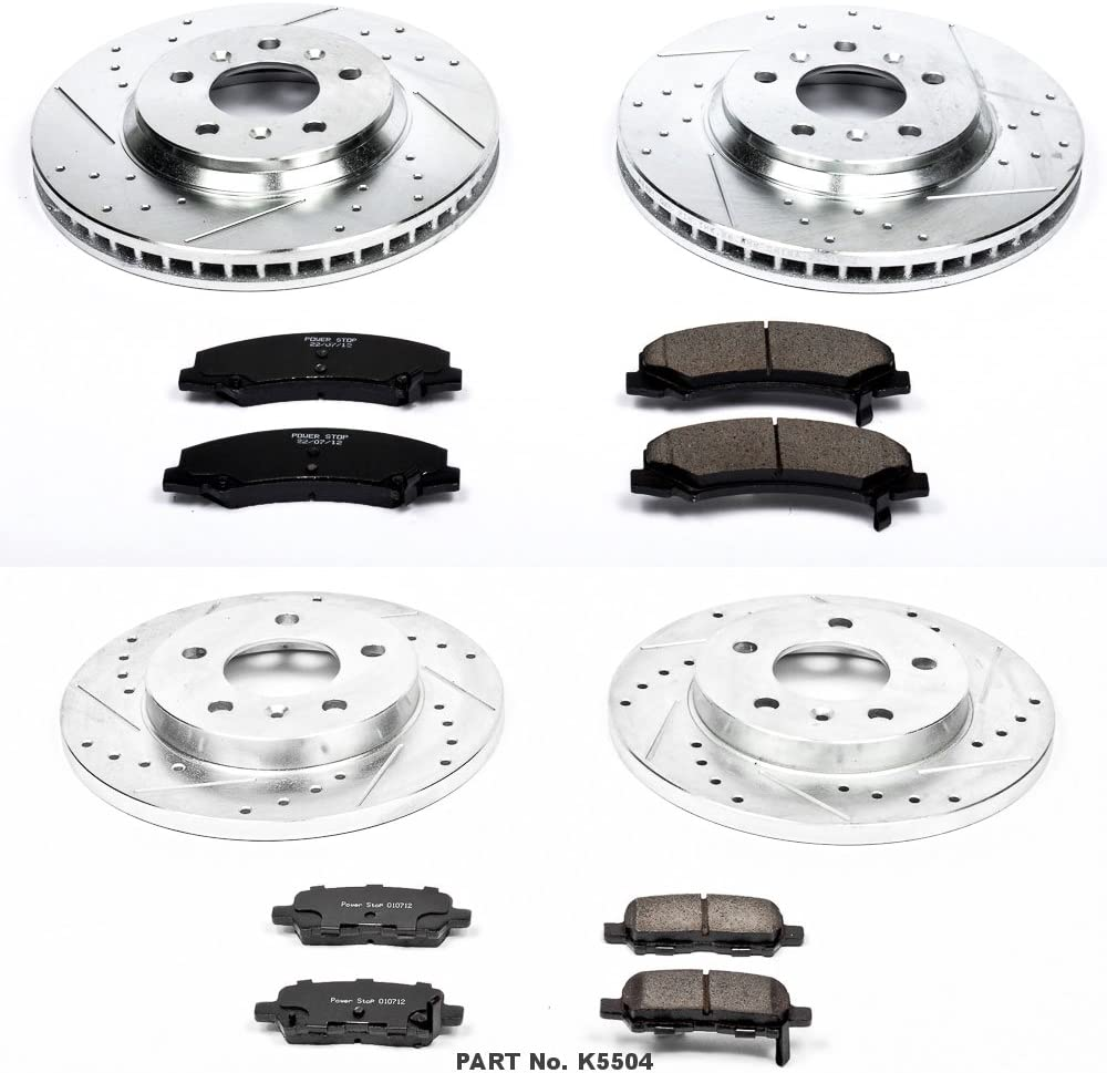 Power Stop K5504 Front /& Rear Brake Kit with Drilled//Slotted Brake Rotors and Z23 Evolution Ceramic Brake Pads