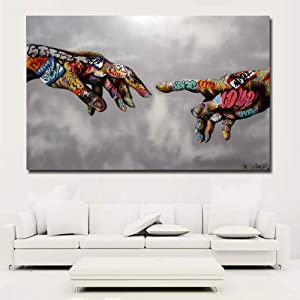 "Faicai Art Classic Street Art Banksy Graffiti Paintings Canvas Wall Art Adam Hand of God Pop Art Prints Posters Abstract Colorful Modern Wall Decor Pictures Home Office Decor Framed 32""x48"""