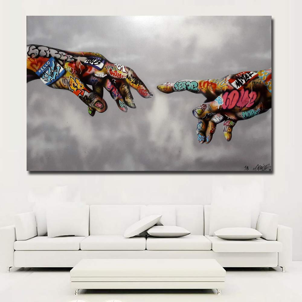"""Faicai Art Classic Street Art Banksy Graffiti Paintings Canvas Wall Art Adam Hand of God Pop Art Prints Posters Abstract Colorful Modern Wall Decor Pictures Home Office Decor Framed 24""""x36"""""""