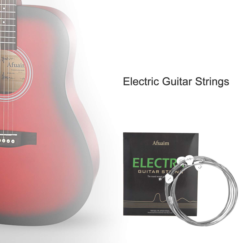 Afuaim Cuerdas Guitarra Eléctrica AE1046 Juego de Cuerdas de Níquel Entorchado,Light.010-.046