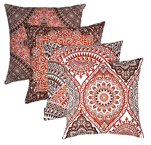 (TreeWool Throw Pillow Cover Mandala Accent Pure Cotton Decorative Cushion Cover Pillowcase (18 x 18 Inches / 45 x 45 cm; Rust & Brown in Cream Background) - Set of 4)