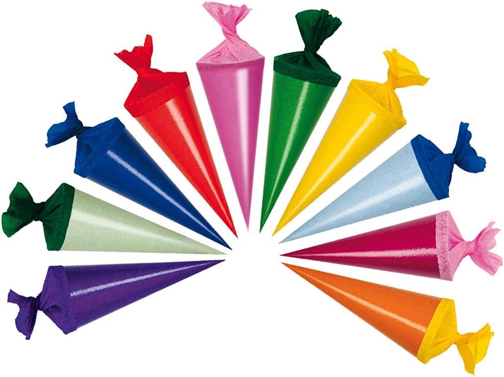 Länge 6 verschiedene Farben 12,5cm 50 Deko Schultüten