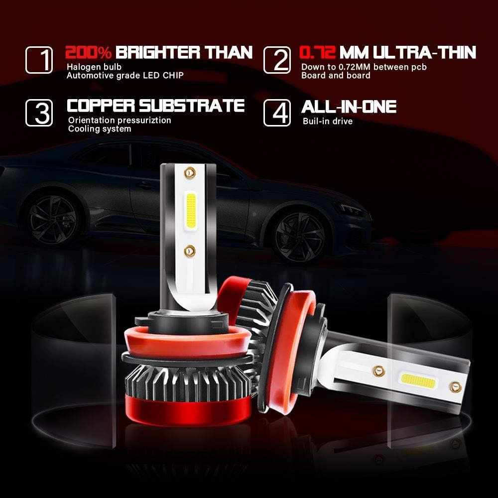 QIANRUNHE Juego de bombillas LED para faros delanteros de coche 160 W, 30000 lm, 6000 K, H1, H3, H7, H8, 9, 11, 9005, HB3, H10, 9006, HB4, 9012