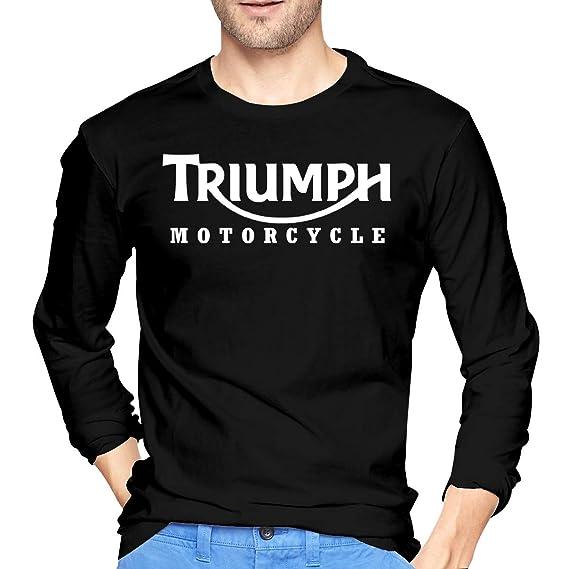 Triumph Classic Motorcycle Mens Long Sleeve Sports Fashion Round Collar T-Shirt Black