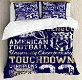 Sports Queen Size Duvet Cover Set by Ambesonne, Retro American Football College Illustration Athletic Championship Apparel, Decorative 3 Piece Bedding Set with 2 Pillow Shams, Purple White Yellow