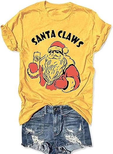Camiseta Mujer de Navidad de Manga Corta Camisetas Casuales O-Cuello Salvaje Ropa para Mujer con Estampade Santa Claus Suéter Sudadera Jersey Tops Fannyfuny: Amazon.es: Ropa y accesorios