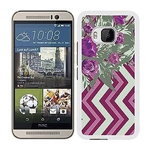 Funda carcasa para HTC One M9 diseño ilustración estampado flores malva y verde borde blanco