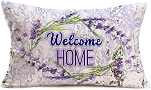 Aremetop Home Decorative Pillow Covers Farmhouse Decor French Country Purple Lavender Flower Wreath with Welcome Quote Throw Pillow Case Cotton Linen 12x20 Inches Long Lumbar Cushion Cover