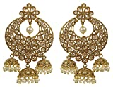 Much More Women Fashion Style Pearl and Crystal Stone Polki Indian Earring Jewelry.
