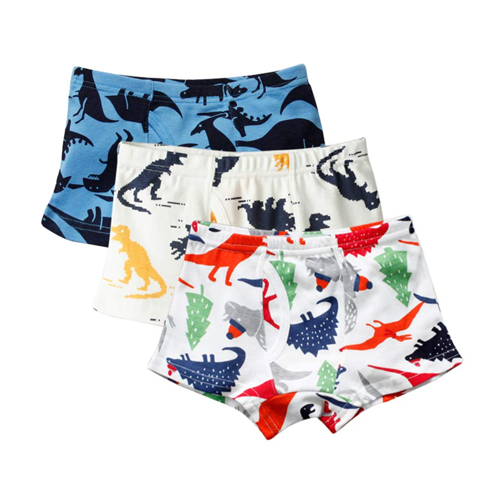 BOBORA Boys Boxer Toddler Boy Kids Cotton Underwear Briefs Cartoon Dinosaur Truck Children Underwear Shorts Pack 0f 3