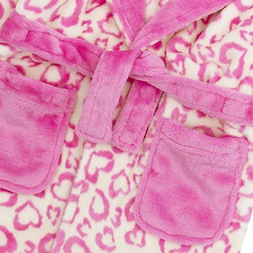 Minikidz Infant Girls Leopard Print Animal Dressing Gown Fleece Hooded Robe New