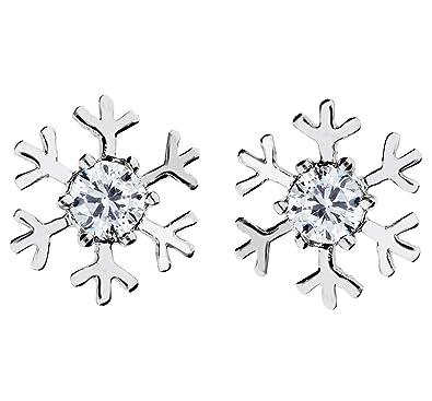 2e30bf228195 Mya Art Copo de nieve Pendientes con Swarovski Strass cristal Piedra  Chapado En Oro Plata Blanco para Mujer Niños myawg de oído de 58   Amazon.es  Joyería