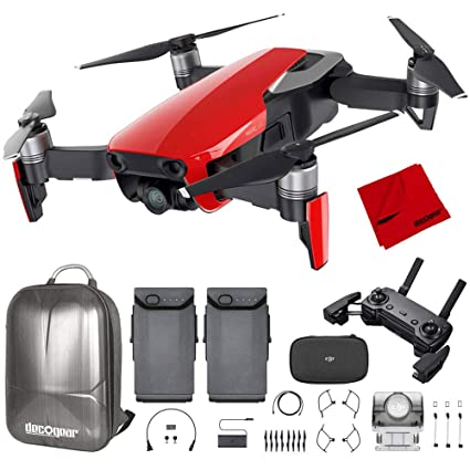 b86d736d5c6 Amazon.com: DJI Mavic Air Quadcopter with Remote Controller - Flame Red Max  Flight Bundle with Spare Battery, and Custom Mavic Air Hard Shell Back  Pack: ...