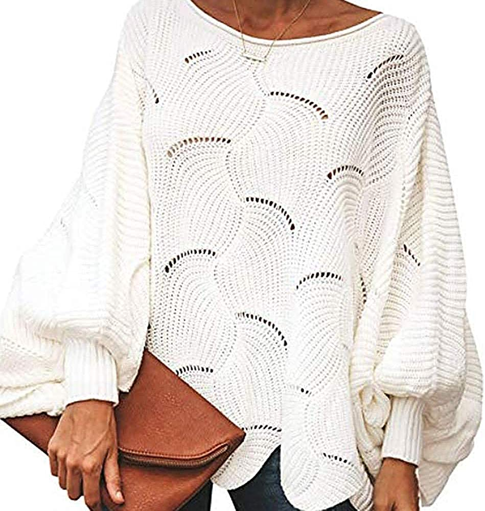 imidol Womens Boat Neck Batwing Sleeve Sweater Loose Knit Pollover Sweaters